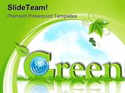Green Card With Globe Environment PowerPoint Templates And PowerPoint
