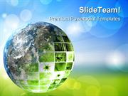 Green Futuristic Technology Geographical PowerPoint Templates And Powe