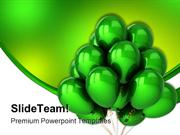 Green Helium Balloons Festival PowerPoint Templates And PowerPoint Bac