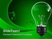 Green Light Eco Bulb Environment PowerPoint Templates And PowerPoint B