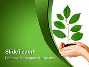 Green Plant In Hands Nature PowerPoint Templates And PowerPoint Backgr