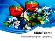 Green Tea With Candles LifeStyle PowerPoint Templates And PowerPoint B