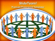 Group Of People Around Globe Communication PowerPoint Templates And Po