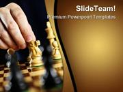 Hand Moving Knight On Chess Game PowerPoint Templates And PowerPoint B