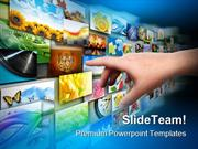 Hand On Media Technology PowerPoint Templates And PowerPoint Backgroun