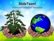 Hands Holding Globe And Plant Environment PowerPoint Templates And Pow
