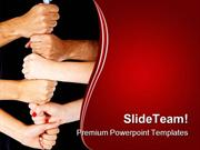 Hands Making A Tower Business PowerPoint Templates And PowerPoint Back