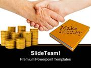 Handshake And Gold Coins Money PowerPoint Templates And PowerPoint Bac