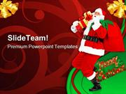 Happy Christmas Santa Festival PowerPoint Templates And PowerPoint Bac