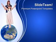 Happy Sisters Globe PowerPoint Templates And PowerPoint Backgrounds pp