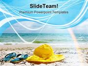Hat And Flip Flop Beach PowerPoint Templates And PowerPoint Background