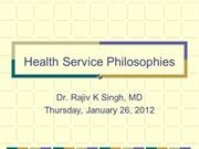 Health Service Philosophies and MDG