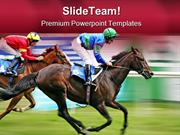 Horse Racing Competition Game PowerPoint Templates And PowerPoint Back