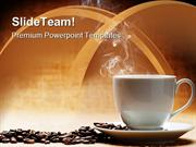 Hot Coffee With Beans Food PowerPoint Templates And PowerPoint Backgro