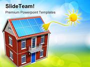 House With Solar Batteries Environment PowerPoint Templates And PowerP