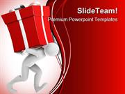 Joe Carrying Gift Christmas PowerPoint Templates And PowerPoint Backgr