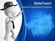 Journalist With Microphone Global PowerPoint Templates And PowerPoint