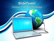 Laptop And Earth Globe PowerPoint Templates And PowerPoint Backgrounds