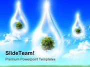 Large Drops Of Green Tree Falling Nature PowerPoint Templates And Powe