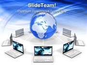 Laptops Around The World Communication PowerPoint Templates And PowerP