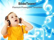 Little Boy Listening Music PowerPoint Templates And PowerPoint Backgro