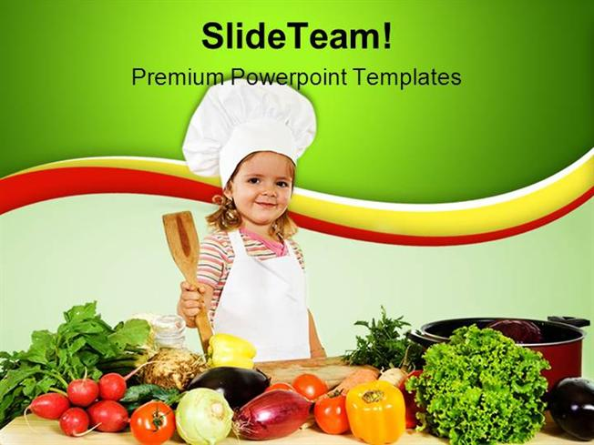 little chef with vegetables food powerpoint templates and powerpoi, Modern powerpoint