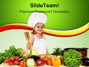 Little Chef With Vegetables Food PowerPoint Templates And PowerPoint B