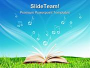 Magic Book Music Notes Nature PowerPoint Templates And PowerPoint Back