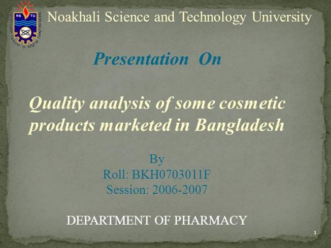 Quality Control of Cosmetics by Papeya Sultana |authorSTREAM