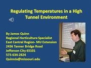 Regulating Temperatures in a High Tunnel Environment