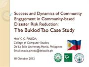 Success & Dynamics of Community Engagement: The Buklod Tao Case Study