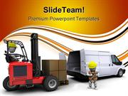 Man In Forklift Truck Industrial PowerPoint Templates And PowerPoint B
