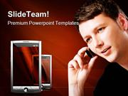 Man With Mobile Technology PowerPoint Templates And PowerPoint Backgro