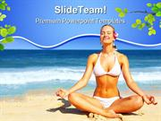 Meditating Near Beach Nature PowerPoint Templates And PowerPoint Backg
