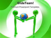 Miniature Figures Holding Globe Abstract PowerPoint Templates And Powe