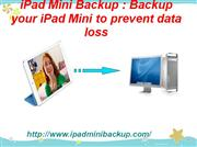 Protect iPad Mini Data by Creating backup with ipad mini backupdevice