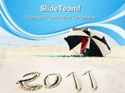 New Year On Beach Vacation PowerPoint Templates And PowerPoint Backgro