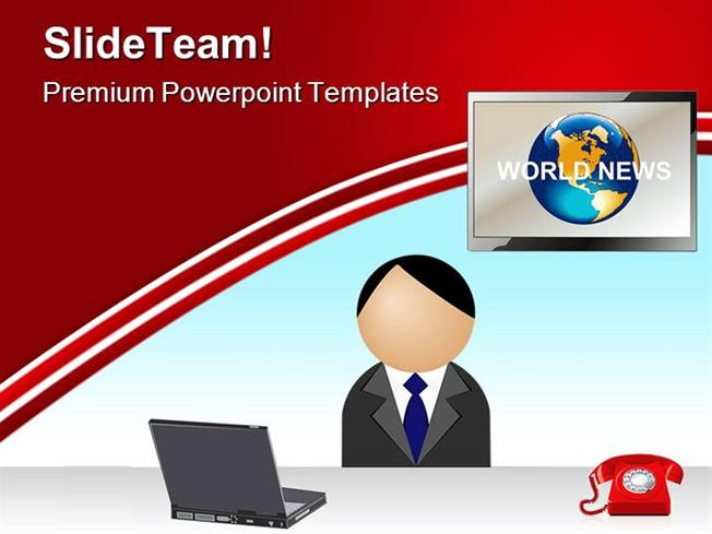 News Reporter Media Powerpoint Templates And Background