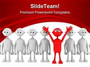 One Red Man Stand Out From Group Leadership PowerPoint Templates And P