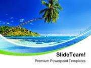 Palm Tree Near Beach Vacation PowerPoint Templates And PowerPoint Back