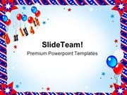 Patriotic Ribbons Balloons Festival PowerPoint Templates And PowerPoin