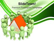 People Around Home Real Estate PowerPoint Templates And PowerPoint Bac