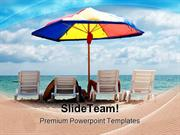 People Enjoying Vacation Beach PowerPoint Templates And PowerPoint Bac