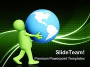 Person Carrying In Hands Globe PowerPoint Templates And PowerPoint Bac