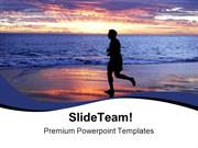 Person On Beach Sunset PowerPoint Templates And PowerPoint Backgrounds
