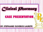 Clinical Pharmacy  (CASE PRESENTATION II)