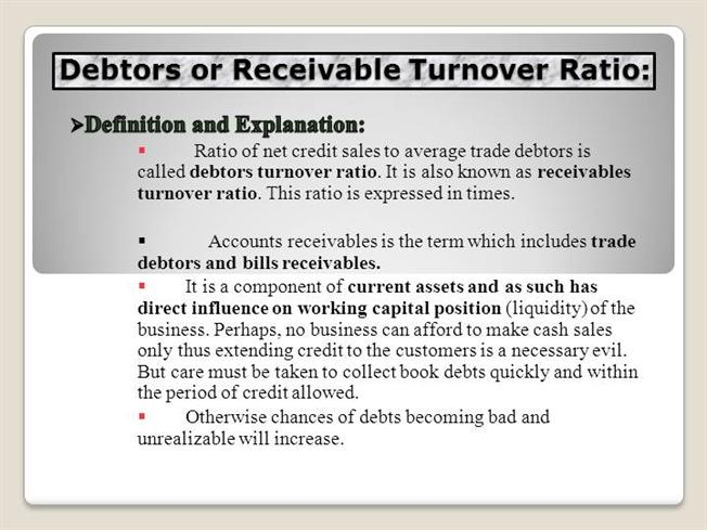 Debtors or Receivable Turnover Ratio |authorSTREAM