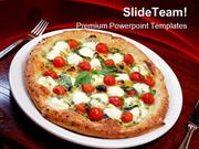 Pizza With Tomatoes And Cheese Food PowerPoint Templates And PowerPoin