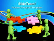 Puppets Holding Puzzle Communication PowerPoint Themes And PowerPoint