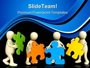 Puppets Holding Puzzles Communication PowerPoint Themes And PowerPoint